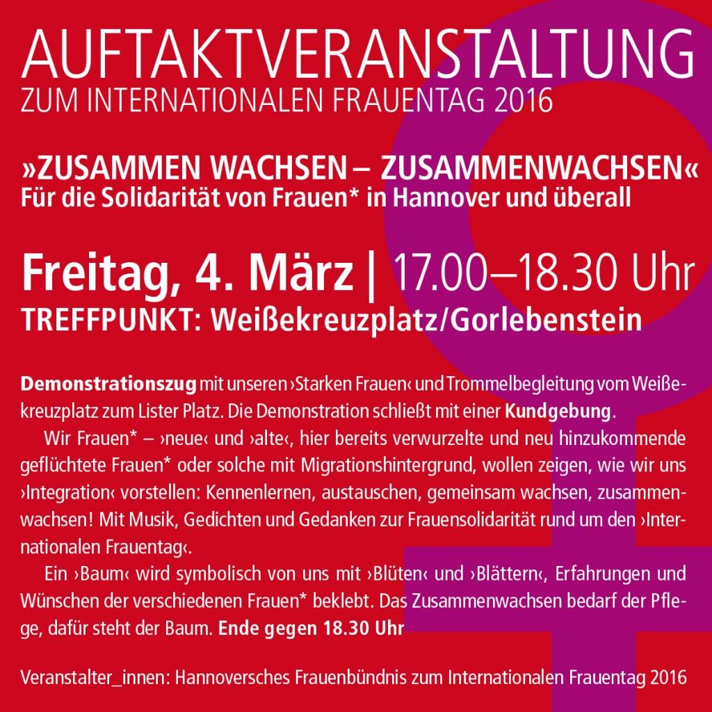 Auftaktveranstaltung Frauenbündnis 2016 Hannover